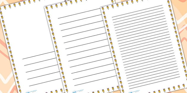 Smiley Pencil Page Borders - writing templates, writing border