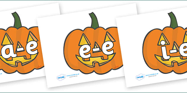 Modifying E Letters on Jack O'Lanterns - Modifying E, letters, modify, Phase 5, Phase five, alternative spellings for phonemes, DfES letters and Sounds