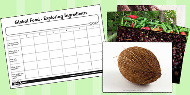 Global Food Photo Pack and Activity Sheet - global, food, photo pack, worksheet
