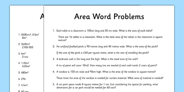 Word Problems Using Area Activity Sheet - word problems, using area, activity, sheet, worksheet
