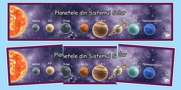 Planetele din Sistemul nostru Solar - Banner mnemonic