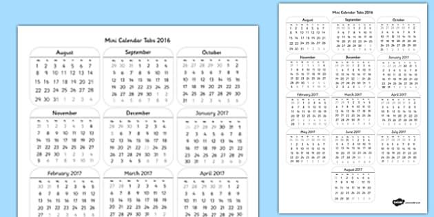 Mini Calendar Tabs 2016 - mini calendar, tabs, 2016, mini, calendar