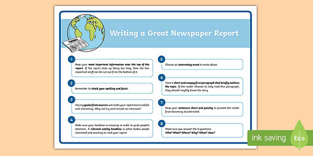writing a news report assignment Irubric: writing a newspaper article- junior grades rubric preview writing a newspaper article- junior grades derived writing is descriptive.