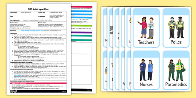 EYFS If I Were a Helper Adult Input Plan and Resource Pack - EYFS, Early Years planning, adult led, rhyme, song, people who help us, EAD, Expressive Arts and Design