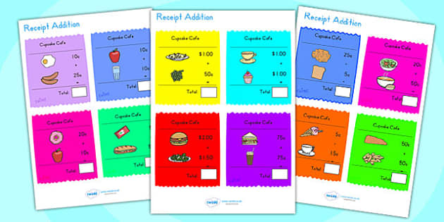 Receipt Addition Maths Activity Sheets - add, addition game, math, worksheet