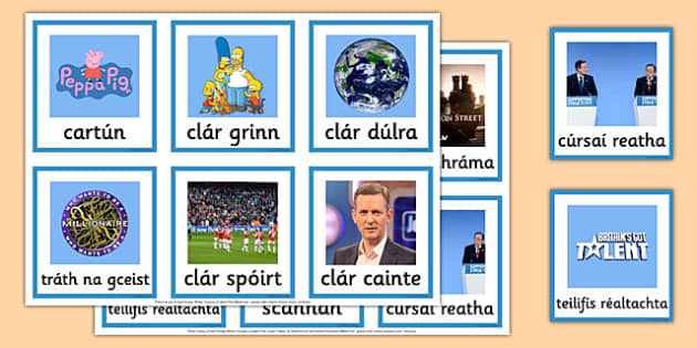 Television Programme Matching Card Game Irish Gaeilge - Gaeilge, Irish, television, T.V., programmes, card, game, snap, go fish, matching