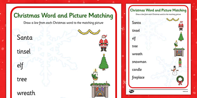 Christmas Word and Picture Matching Activity - christmas themed, word and picture matching, christmas activity, christmas themed word picture activity