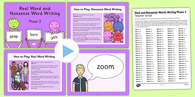 Real and Nonsense Words Writing Phase 3 PowerPoint and Script
