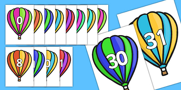 Calendar Numbers 0-31 on Hot Air Balloons (Stripes) - Calendar, Foundation Numeracy, Numbers, 0-31, A4, display, birthday, hot air balloon, balloon, balloons