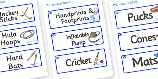 Scotland Themed Editable PE Resource Labels - Themed PE label, PE equipment, PE, physical education, PE cupboard, PE, physical development, quoits, cones, bats, balls, Resource Label, Editable Labels, KS1 Labels, Foundation Labels, Foundation Stage L