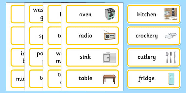 Kitchen Word Cards - houses and homes, house, home, building, kitchen, Word cards, Word Card, flashcard, flashcards, brick, stone, detached, terraced, bathroom, kitchen, door, caravan, where we live, ourselves