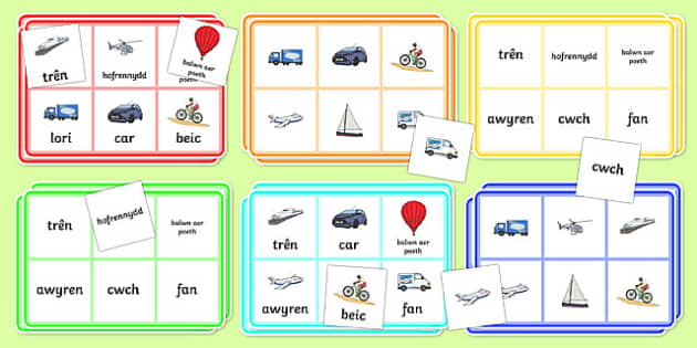 Transport Bingo Welsh Translation - transport, bingo, welsh