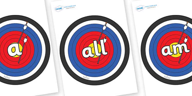 Foundation Stage 2 Keywords on Archery Targets - FS2, CLL, keywords, Communication language and literacy,  Display, Key words, high frequency words, foundation stage literacy, DfES Letters and Sounds, Letters and Sounds, spelling