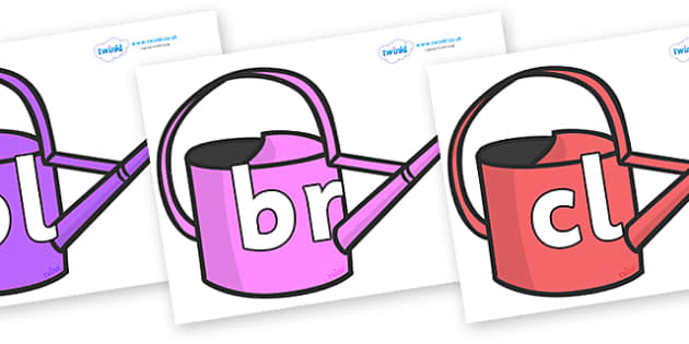 Initial Letter Blends on Watering Cans - Initial Letters, initial letter, letter blend, letter blends, consonant, consonants, digraph, trigraph, literacy, alphabet, letters, foundation stage literacy