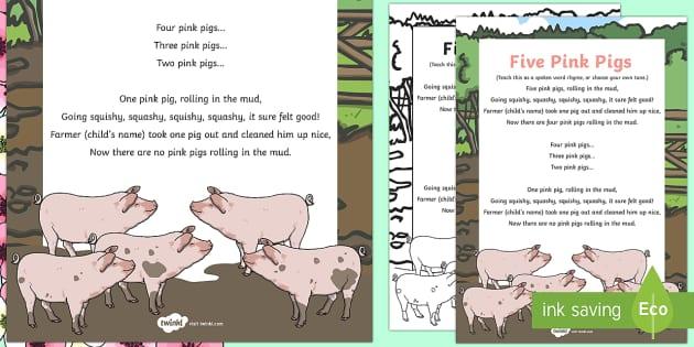 Five Pink Pigs Rhyme - Spring, pigs rhyme, five little pigs, pigs, five, rhyme