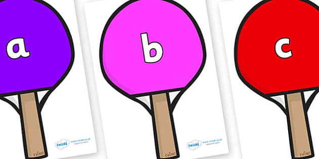 Phase 2 Phonemes on Table Tennis Bats - Phonemes, phoneme, Phase 2, Phase two, Foundation, Literacy, Letters and Sounds, DfES, display