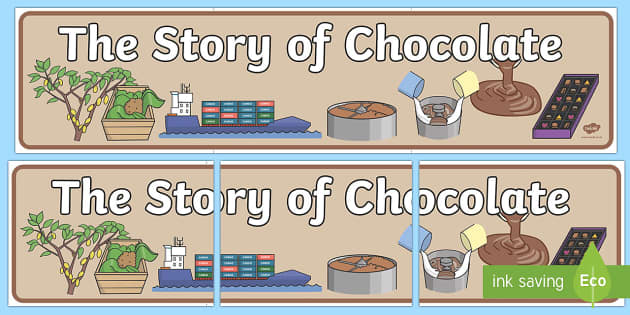 The Story Of Chocolate Display Banner - the story of chocolate, where does chocolate come from, chocolate, display, banner, sign, poster, cocoa bean, cacao tree