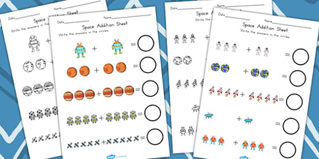Space Addition Sheet - Worksheet, Worksheets, Adding, Numeracy