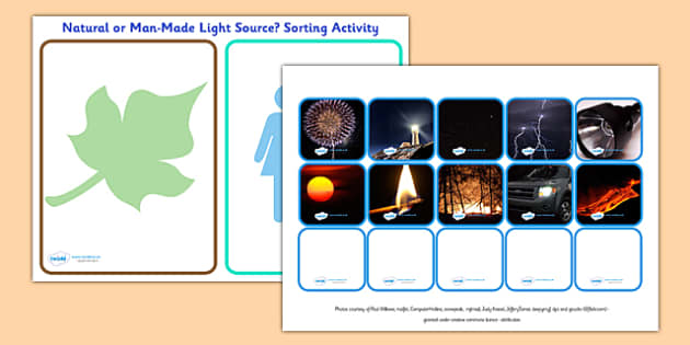 Worksheets Natural And Artificial Sources Of Light Worksheet natural and man made light source sorting activity natural