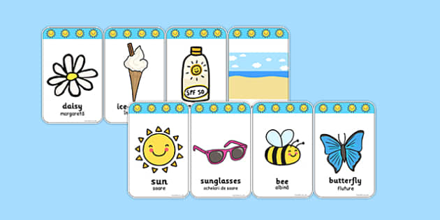 Summer Flashcards Romanian Translation - romanian, seasons, weather, flash cards, word cards