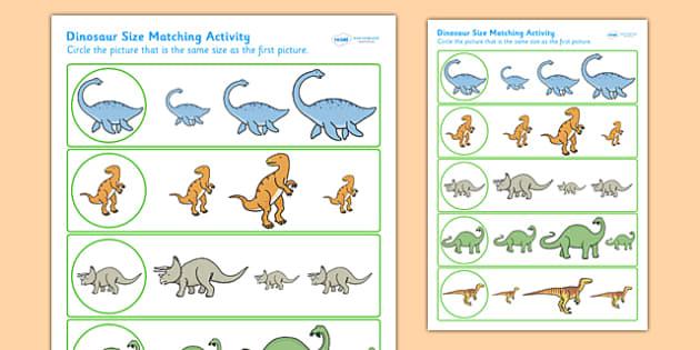 Dinosaur Size Matching Worksheet - dinosaurs, size, match, shape