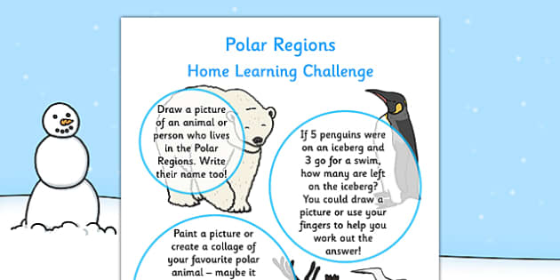 EYFS Polar Regions Home Learning Challenge Sheet Nursery FS1 - EYFS planning, early years activities, homework, snow, arctic, antarctic, North Pole, South Pole
