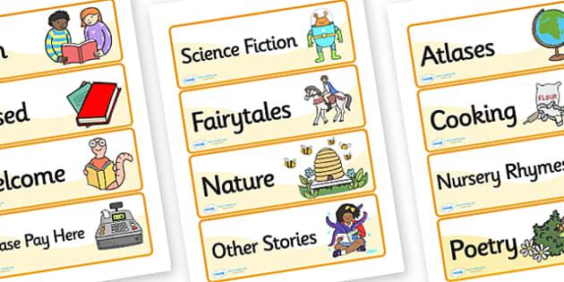 Book Shop Role Play Labels - book shop, books, book shop genre labels, book shop role play, book shop display labels, book genre signs, book genre labels