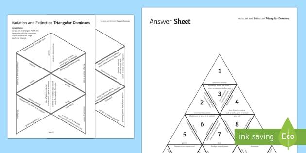 Variation and Extinction Triangular Dominoes - Tarsia, Dominoes, Variation, Extinction, Different, Environmental, Genetic, Inherited