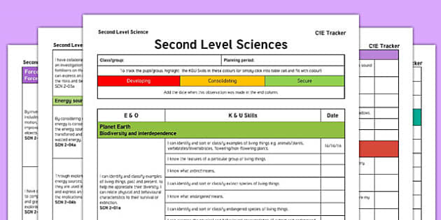 Sciences CfE Second Level Tracker - CfE, planning, living things, forces, electricity, sound, space, water, bodies, materials, I can, Second