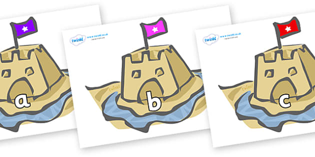 Phase 2 Phonemes on Sand Castles - Phonemes, phoneme, Phase 2, Phase two, Foundation, Literacy, Letters and Sounds, DfES, display