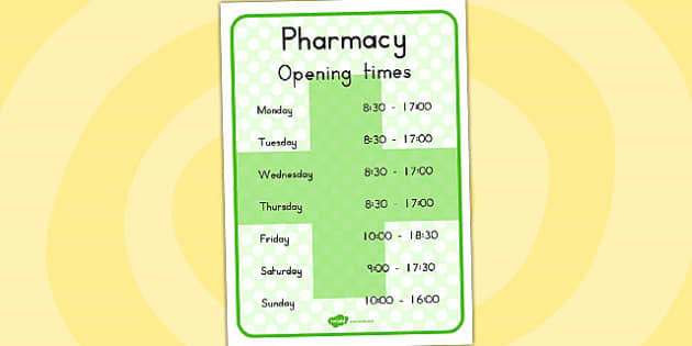 Pharmacy Role Play Opening Times - time, medicine, medicines