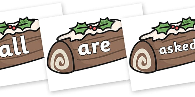 Tricky Words on Christmas Logs - Tricky words, DfES Letters and Sounds, Letters and sounds, display, words