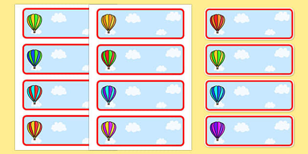 Editable Drawer - Peg - Name Labels (Striped Hot Air Balloons) - Hot Air balloon Label Templates, balloons, Resource Labels, Name Labels, Editable Labels, Drawer Labels, Coat Peg Labels, Peg Label, KS1 Labels, Foundation Labels, Foundation Stage Labe