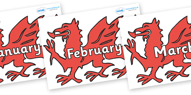 Months of the Year on Welsh Dragons - Months of the Year, Months poster, Months display, display, poster, frieze, Months, month, January, February, March, April, May, June, July, August, September