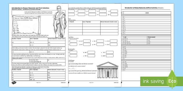 Introduction to Roman Numerals and First Activities English/Romanian
