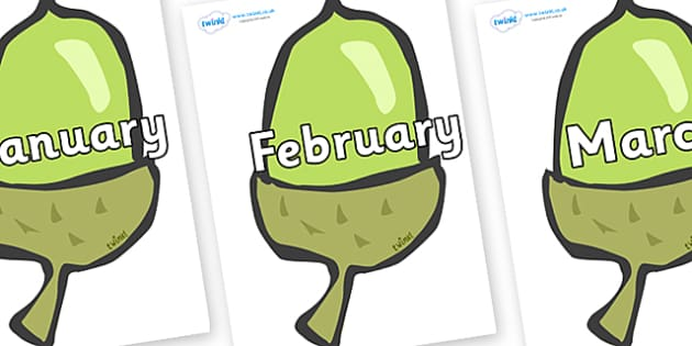 Months of the Year on Acorns - Months of the Year, Months poster, Months display, display, poster, frieze, Months, month, January, February, March, April, May, June, July, August, September