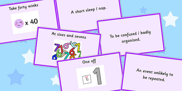 Number Idioms Matching Cards - number, idioms, matching, cards