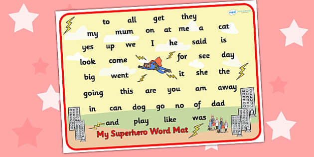 Superhero Themed Foundation Stage 2 Word Mat - FS2, word mat