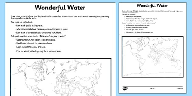 Wonderful Water Seas and Oceans Activity Sheet - water, map, ocean, sea, worksheet