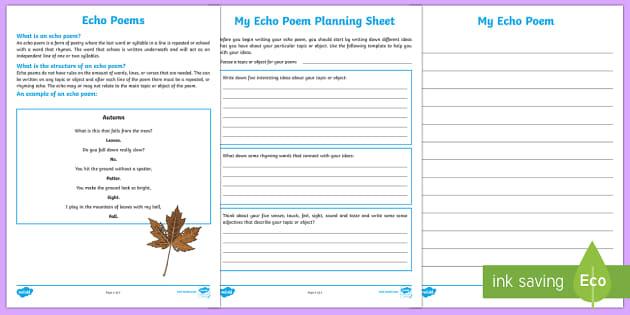 Echo Poem Writing Template-Australia - Literacy, Interpreting, analysing, evaluating, english, poetry, writing, poems, poetry, echo poems,