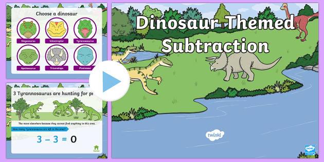Dinosaur Themed Subtraction PowerPoint - dinosaur, subtraction, take away, minus, powerpoint, subtraction powerpoint, maths, numeracy, numeracy powerpoint