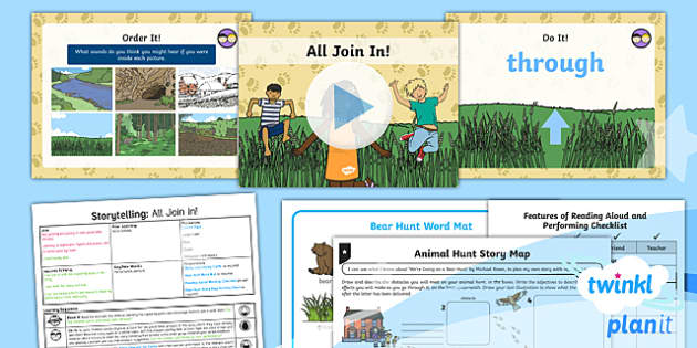 PlanIt Y1 Explorers: To Support Teaching on We're Going on a Bear Hunt Lesson Pack Storytelling (1)  - Explorers: Bear Hunt, reading aloud, performance, retelling, storytelling, powerpoint, ppt, planning