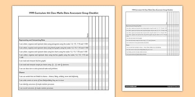 1999 Curriculum 4th Class Maths Data Assessment Group Checklist - roi, gaeilge, maths, curriculum, 1999