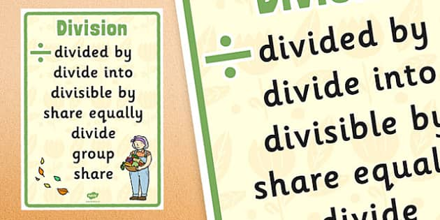 Autumn Themed Division Vocabulary Display Poster - autumn, division, vocabulary, display