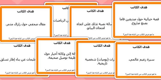 بطاقات مهام القراءة الموجهة غرض الكاتب - موارد المعلم، عربي
