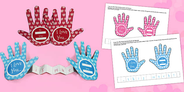 I Love You This Much Fold Out Paper Hands Craft - paper, hands, love