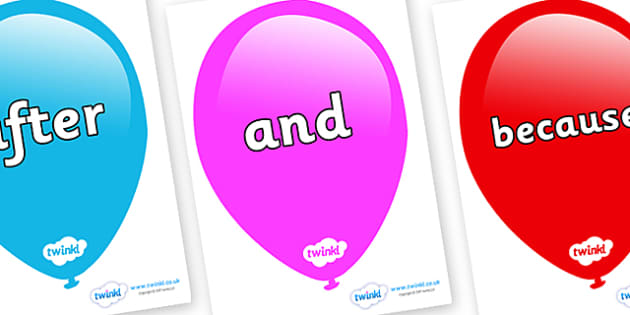 Connectives on Balloons - Connectives, VCOP, connective resources, connectives display words, connective displays
