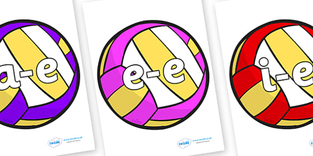 Modifying E Letters on Volleyballs - Modifying E, letters, modify, Phase 5, Phase five, alternative spellings for phonemes, DfES letters and Sounds