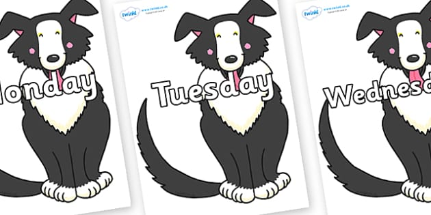 Days of the Week on Hullabaloo Sheepdog to Support Teaching on Farmyard Hullabaloo - Days of the Week, Weeks poster, week, display, poster, frieze, Days, Day, Monday, Tuesday, Wednesday, Thursday, Friday, Saturday, Sunday