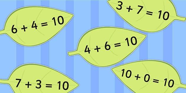 Number Bonds to Ten on Leaves - numbers, visual, aid, display